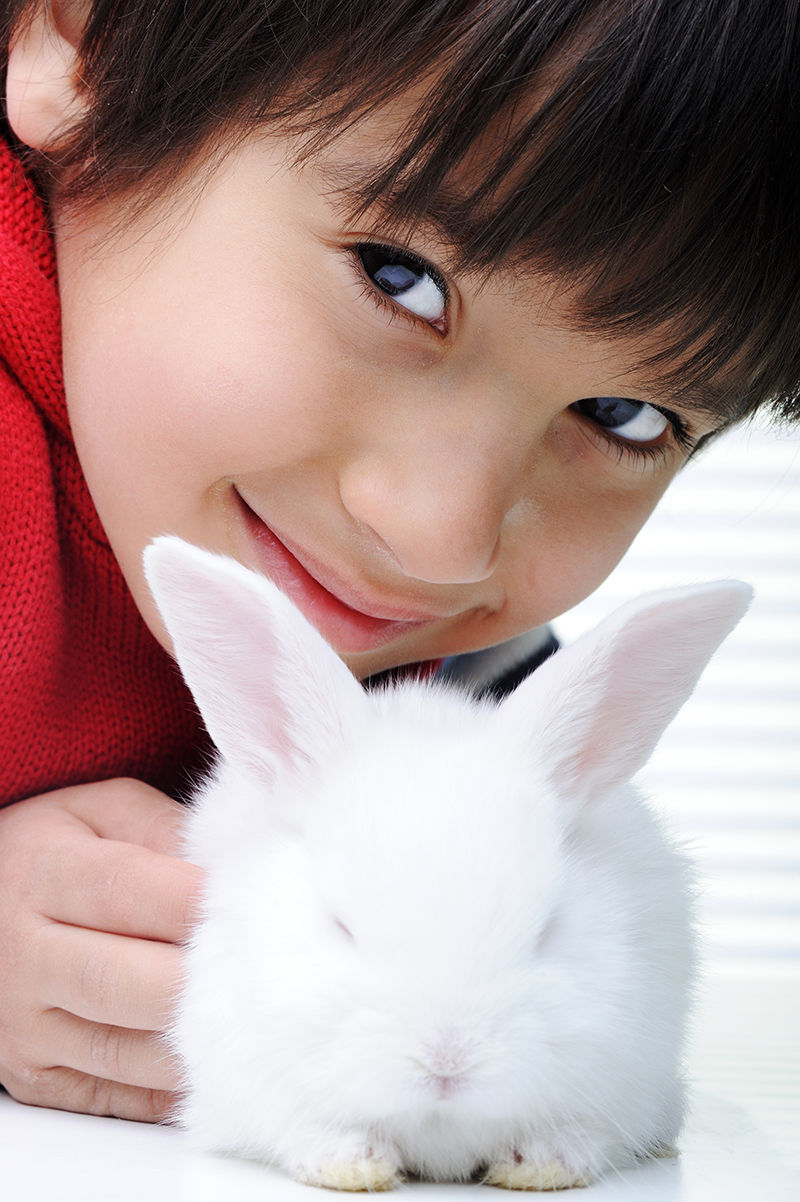 Child and bunny